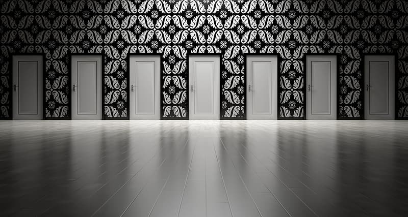 Black and white floral wall