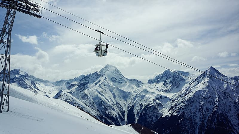 Cable Car Over Snow Covered Mountain Pikrepo