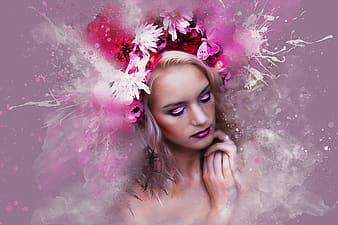 Pink flowers on woman's hair
