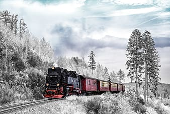 Red and black train on rail tracks under cloudy sky