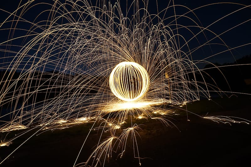Steel wool photography of fireworks during nighttime