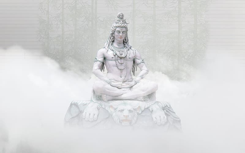 Hindu Deity statue surrounded by fogs
