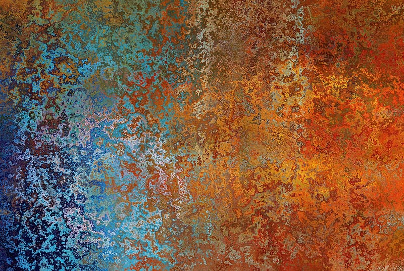 Blue, orange, red, and teal abstract painting