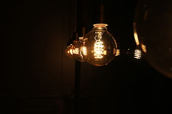 Lighted light bulbs during nighttime