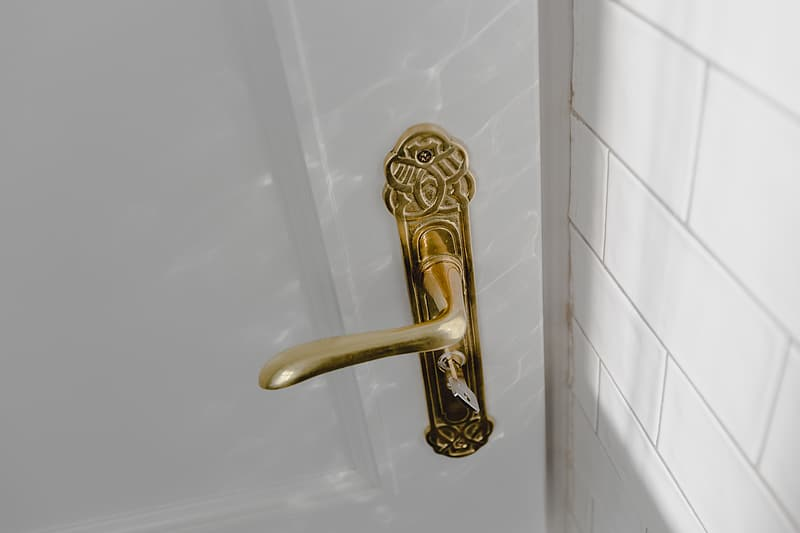 Antique gold plated door handle