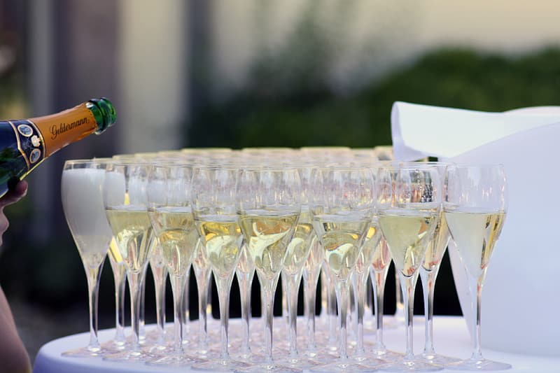Shallow depth of field photo of clear glass champagne flutes filled with liquor on top of table with white cover