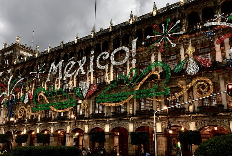 Mexico Christmas decor on high-rise building