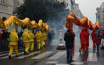Group of people carrying dancing dragon