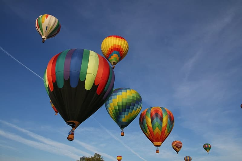 Hot air balloons up in the air