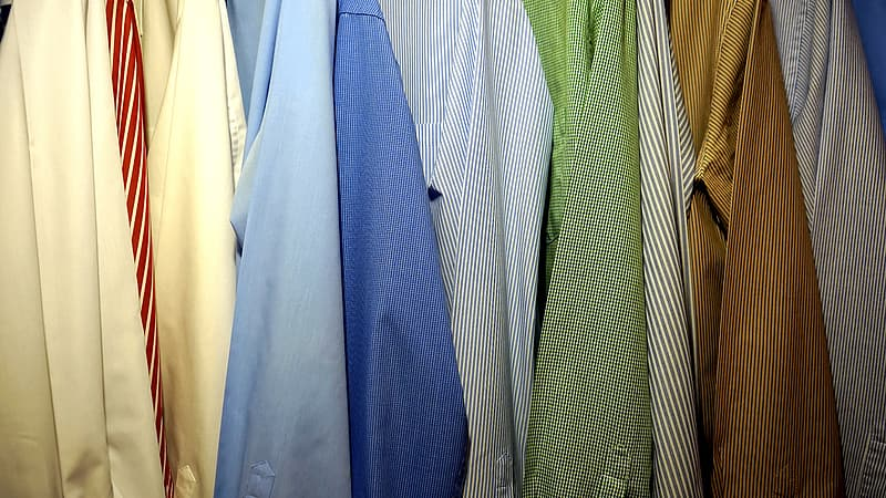 Assorted-color pinstriped shirts