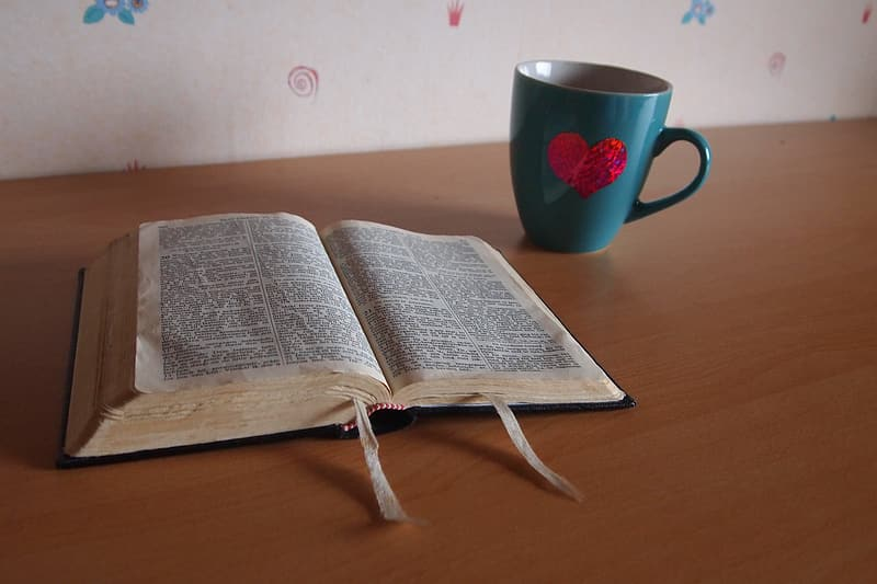 Open book near teal cup on table
