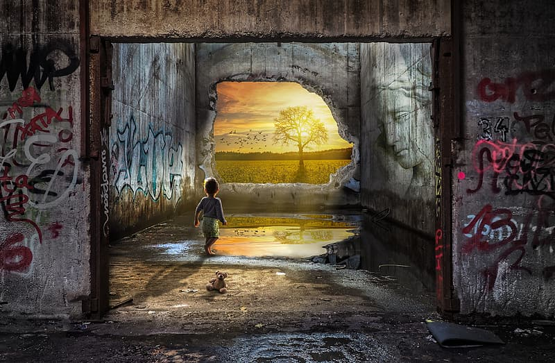 Illustration of boy standing in abandoned building