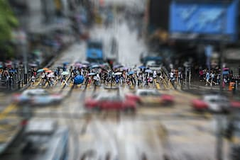 Selective focus photography of people crossing road