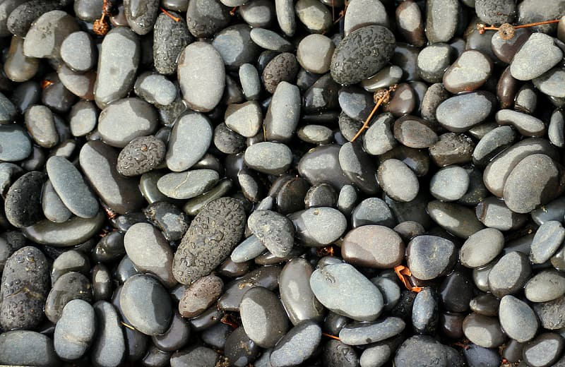 Gray and brown stones on water