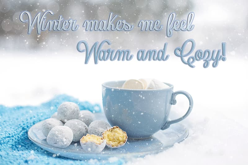 Blue ceramic cup with bread balls on saucer with snow flakes background