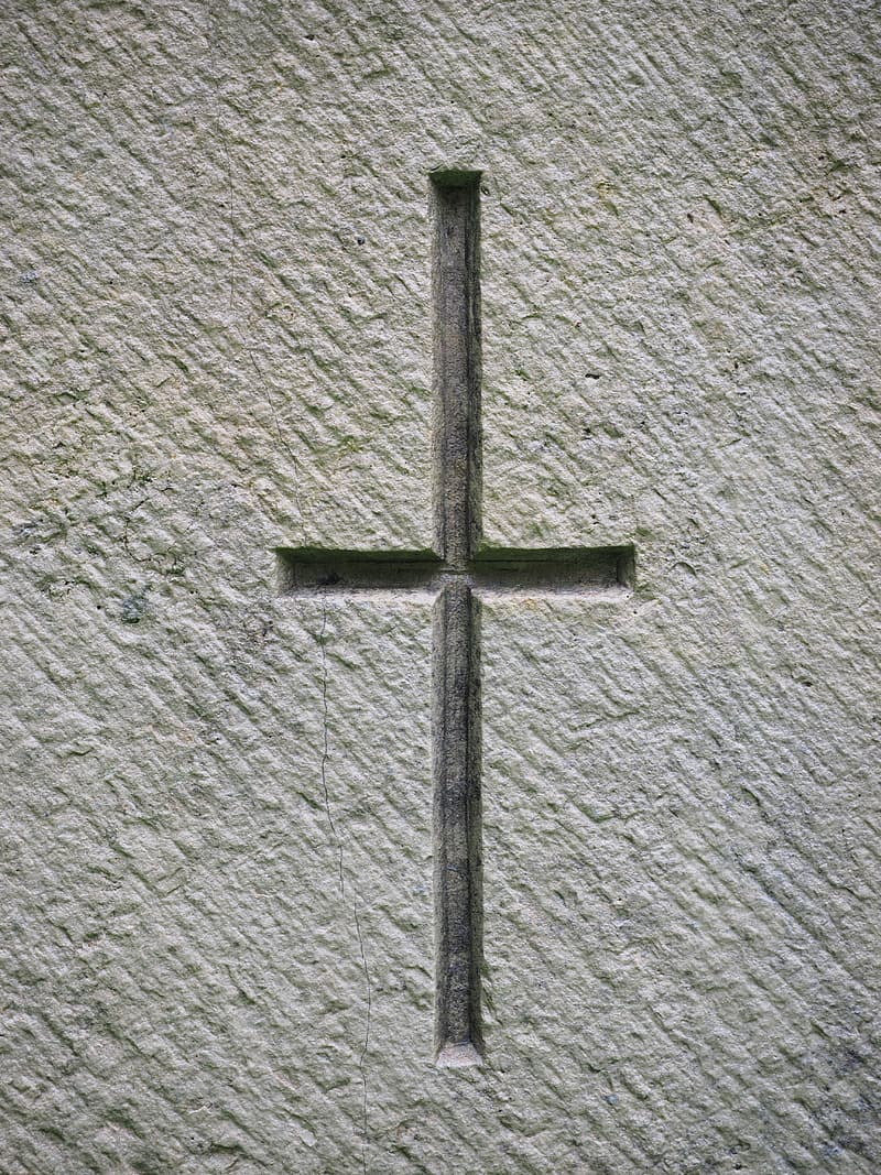 Cross engraved wall