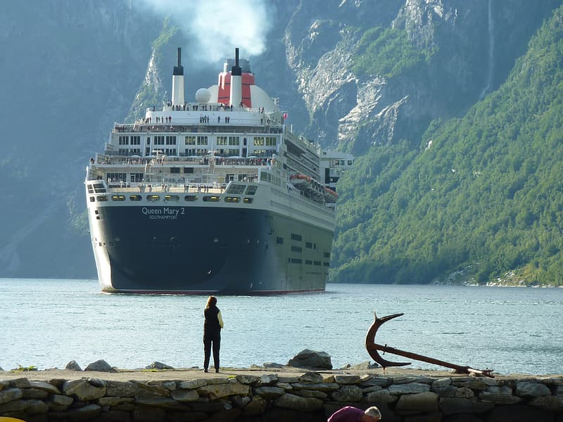 Person looking at cruise ship during daytime