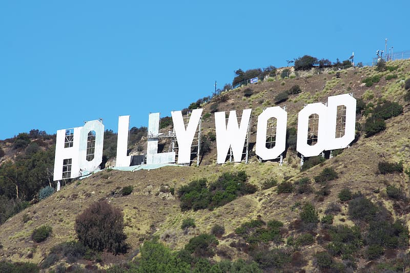 Hollywood signage in low angle photography