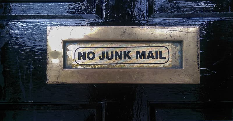 Metal mail box with no junk mail sticker