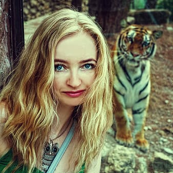 Woman wearing blue shirt taking photo near the tiger during daytime