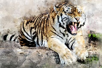 White and brown painting of tiger