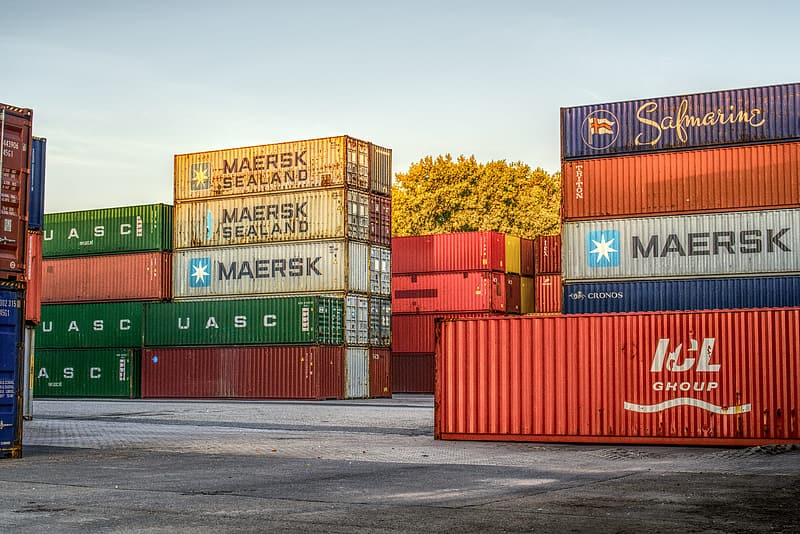 Red and blue intermodal containers