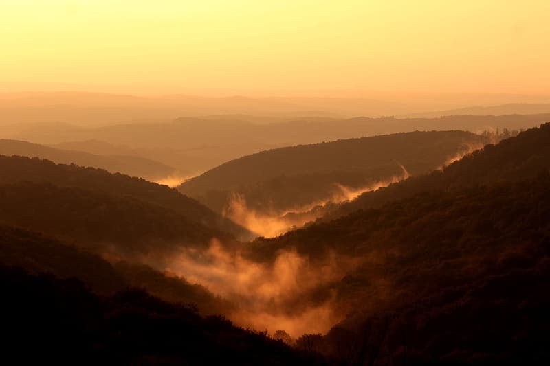 Top view photography of brown hills at golden hour