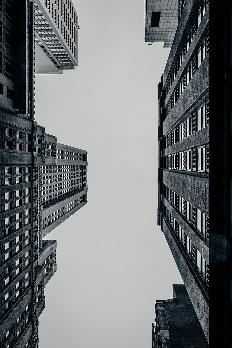 Greyscale worm's eye view of high rise buildings