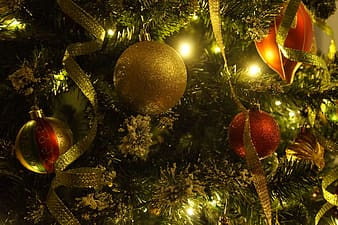 Gold and red baubles hanged on Christmas tree