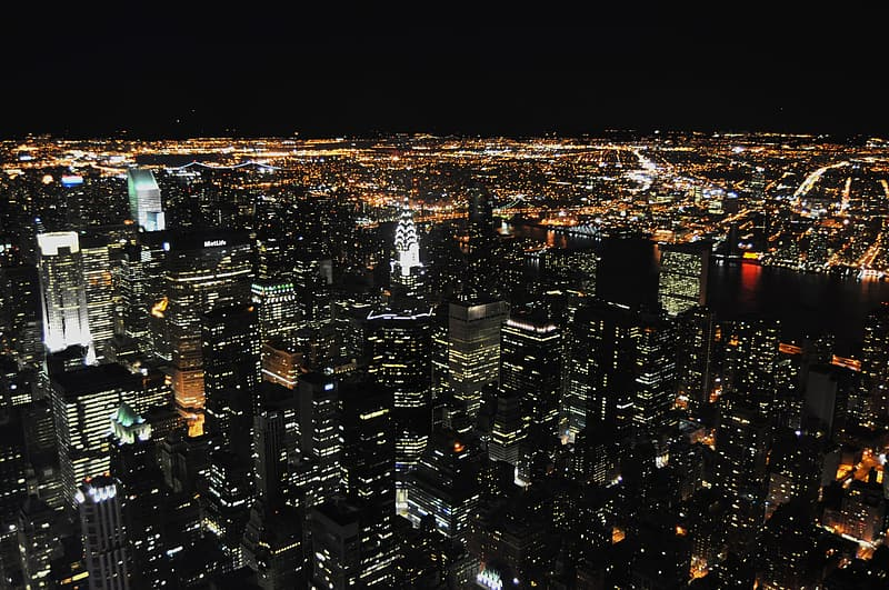 Top view of city buildings during night