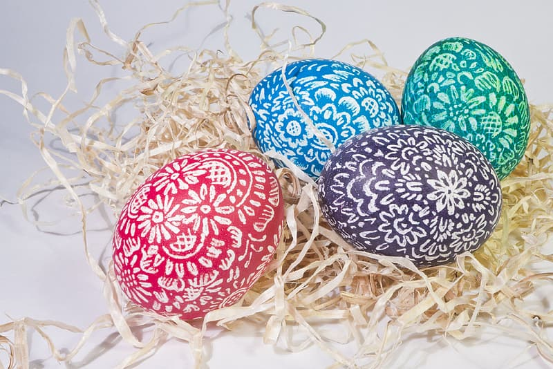Four assorted-color easter eggs