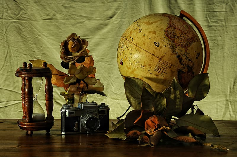 Black and silver camera beside brown and beige globe