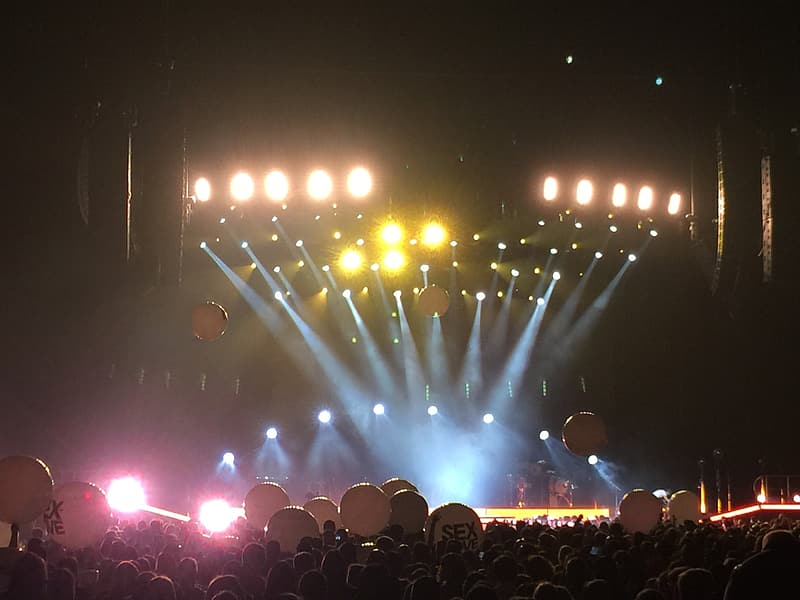 Stage with lights and balloons