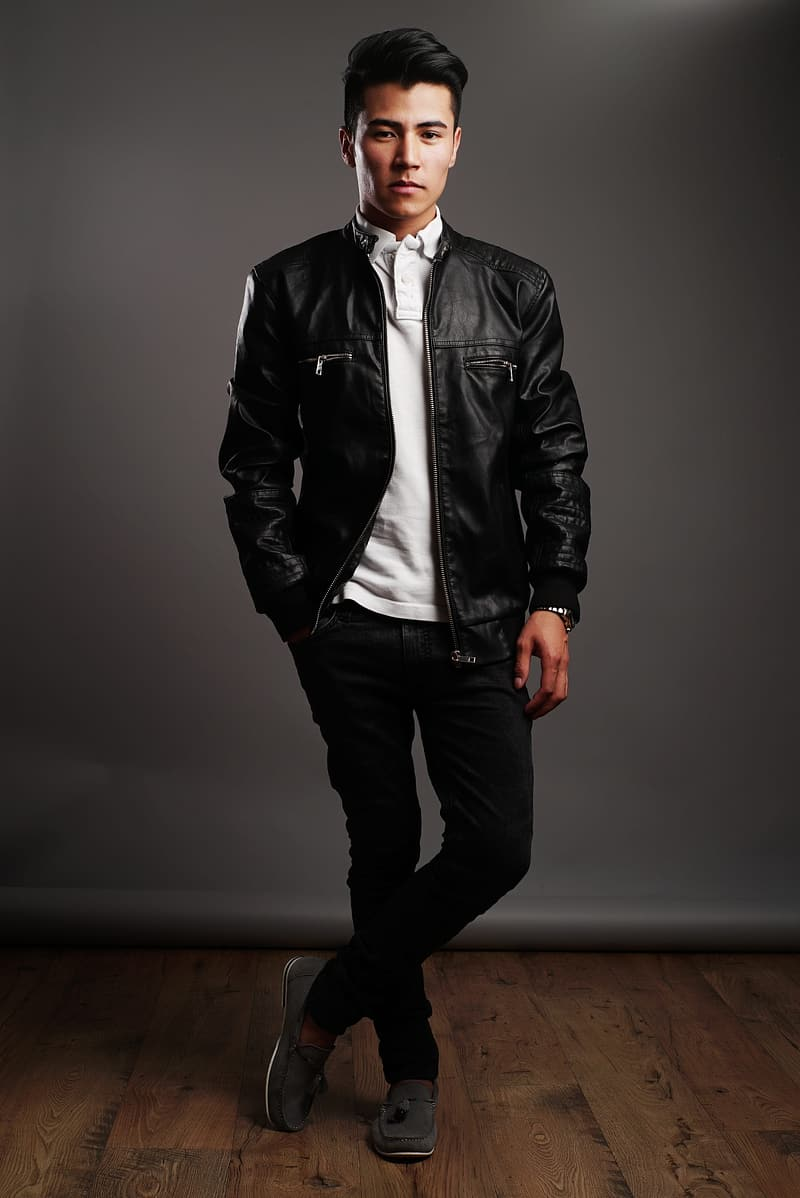 Man in black leather jacket, white shirt, and black pants
