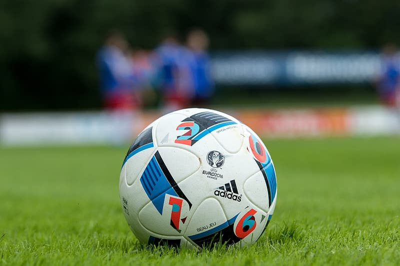 White and blue adidas soccer ball on grass
