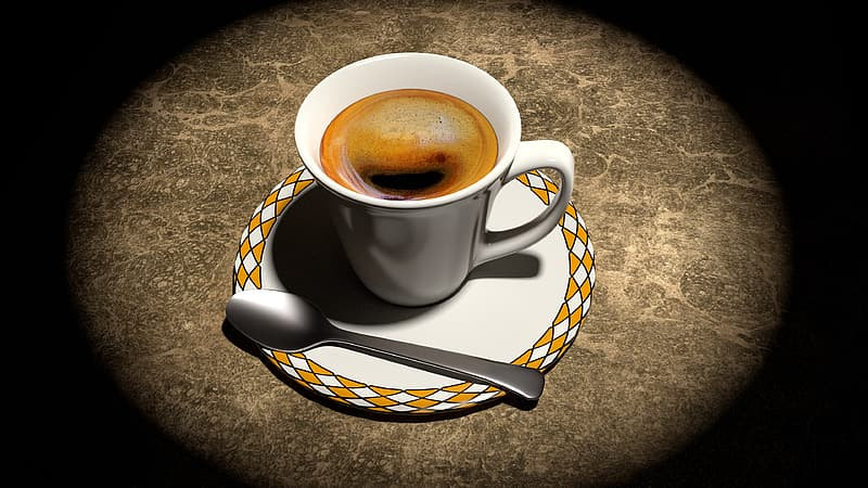 White and yellow ceramic cup with coffee illustration