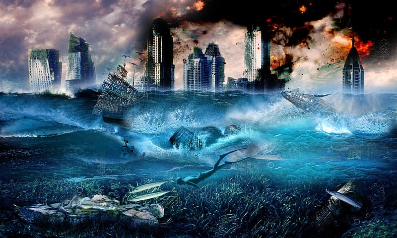 City, seas, flood, fire, drowning, disaster, water, sea, architecture, built structure