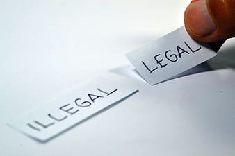 Person holding Illegal and Legal printing papers