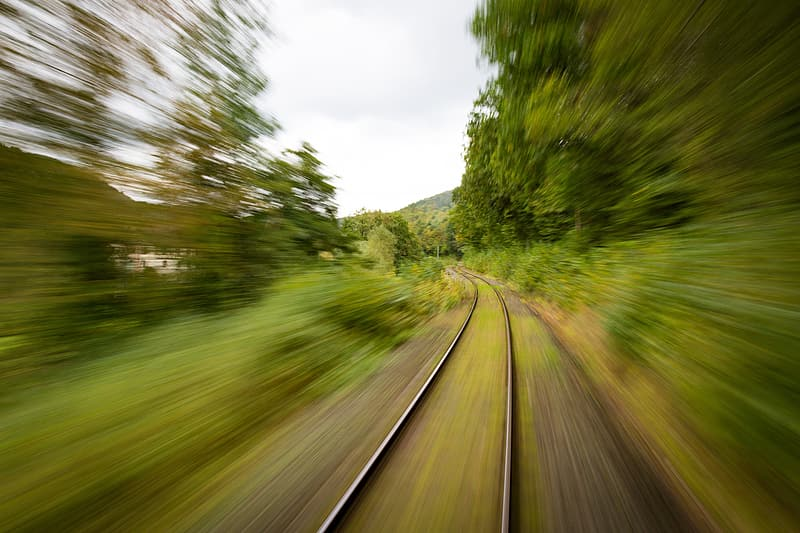 Time-lapse photography of railway during daytime