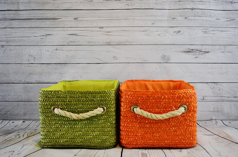 Orange and green containers