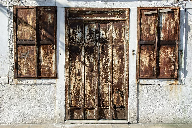 Rusted brown door