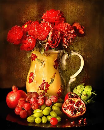 Red roses in brown ceramic vase with assorted fruits decor