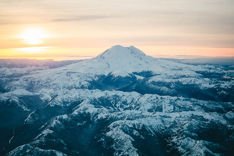 Aerial photography of snow-capped mountain