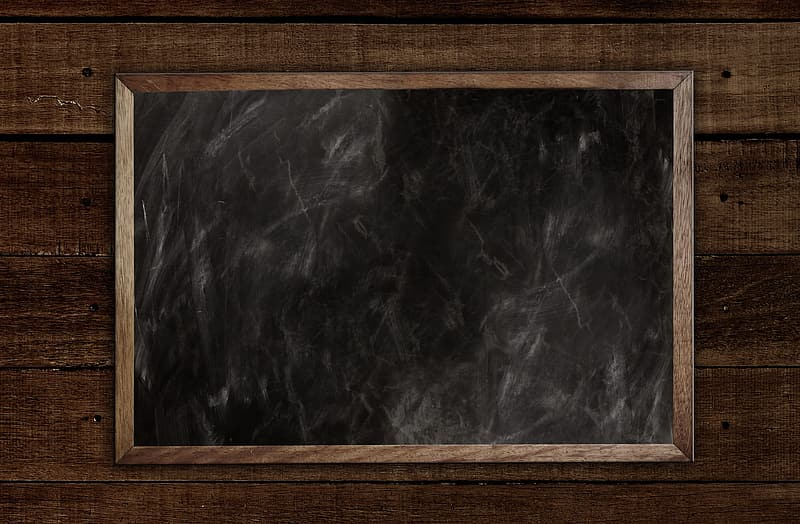 Brown wooden frame with black and white abstract painting