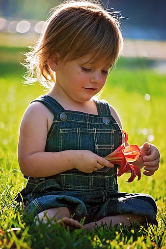 Girl in blue overall pants holding red lily flower