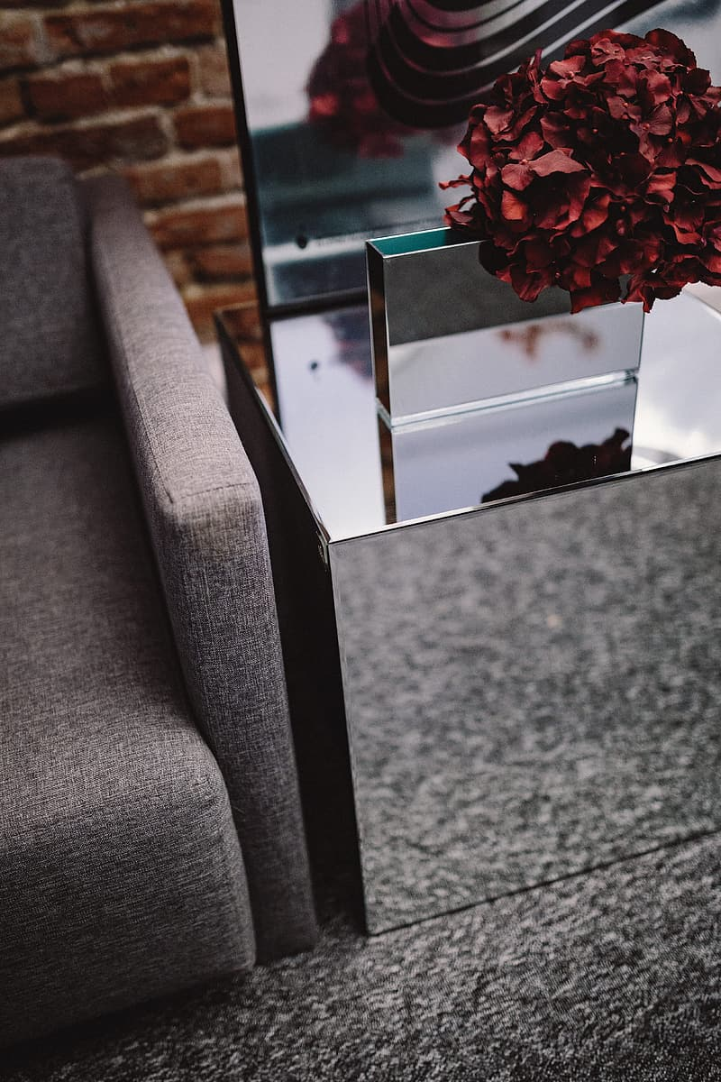Contemporary Mirrored Cube Coffee Table