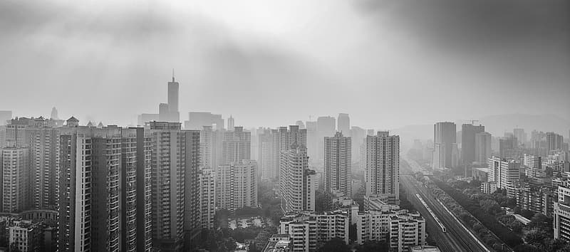 Grayscale photo highrise building