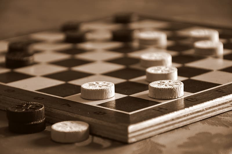 Brown and white chess pieces