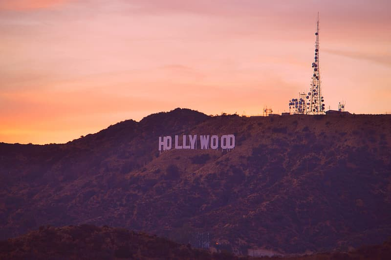 Stock photo of Hollywood at Los Angeles California during orange sunset