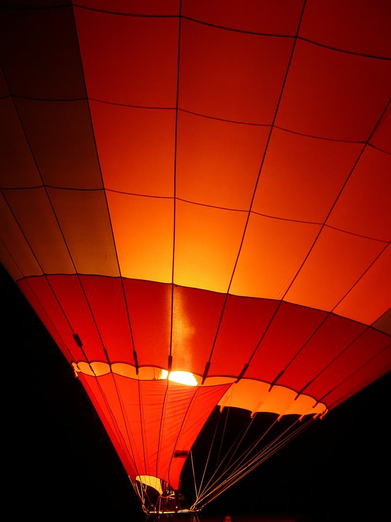 Red and orange hot air balloon